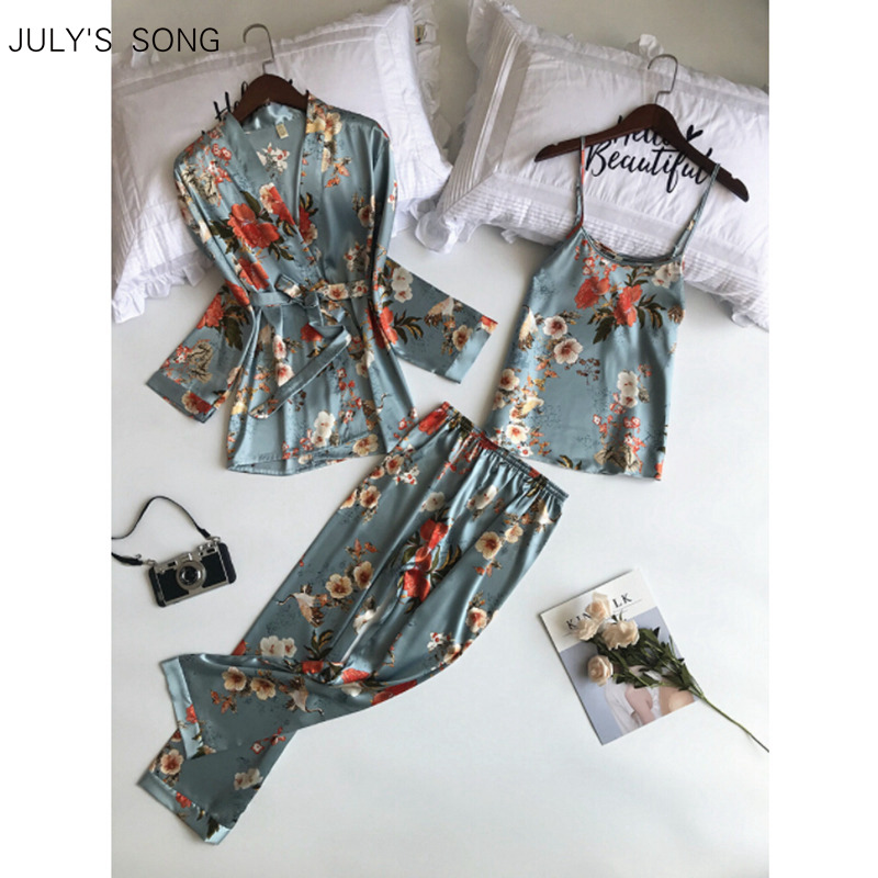 JULY'S SONG  Woman Spring Pajamas Set Sling 3 Pieces Satin Faux Silk Printing Sleep Lounge Long Pants Woman Sleepwear Pajamas