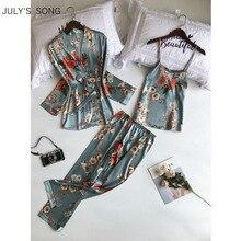 Julysong s canção mulher primavera pijamas conjunto sling 3 peças cetim falso impressão de seda dormir lounge calças longas mulher pijamas