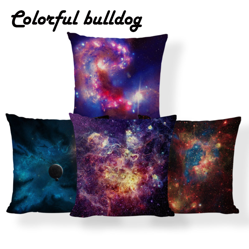 Universe Red Cushion Cover Psychedelic Blue Pink Pillow Country Man Cave Anniversary Gift For Sofa Dakimakura 17.7inch Polyester Providing Amenities For The People; Making Life Easier For The Population Home Textile