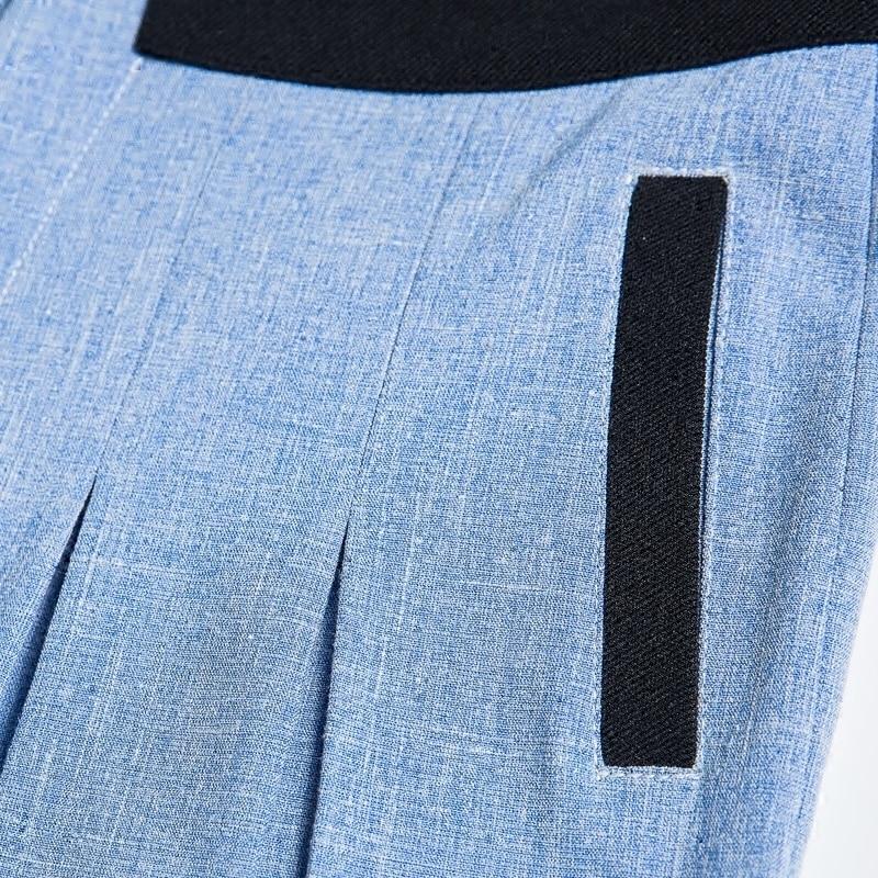 Vrouwen Nieuwe Effen Kleur Rechte Broek Blauw Hoge Taille Streetwear Casual Mode Groothandel Wijde Pijpen Broek Plus Size TrousersMK0018 - 2