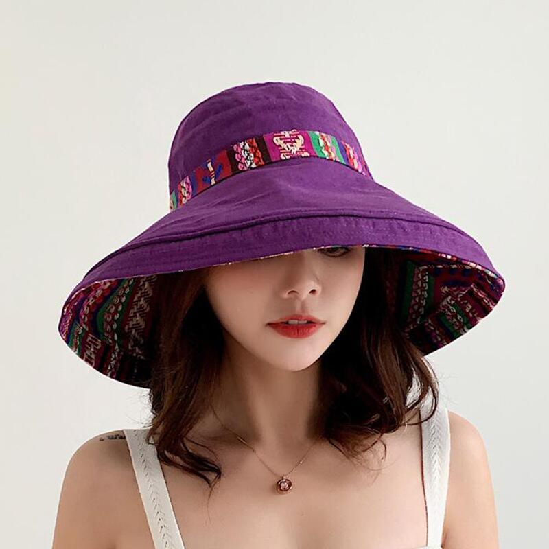 HTB1485wbEjrK1RkHFNRq6ySvpXap - Double sided irregular Pattern Bucket Hat Women Summer Cotton Breathable Leisure Bob Caps Outdoor Sports Casual Dome Panama Cap