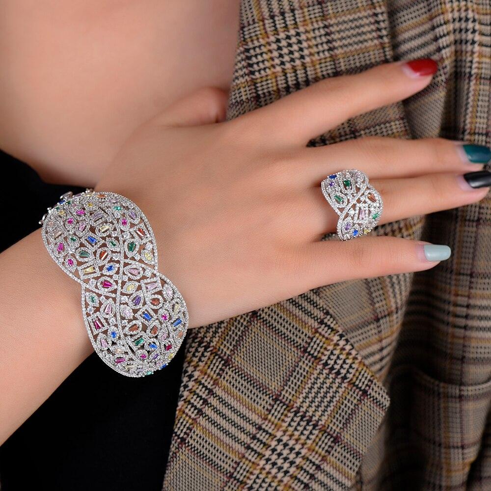 Missvikki femmes Bracelets en argent brillant charme autriche cristal large bracelet anneau nouvelle mode de luxe africain nigérian femmes bijoux