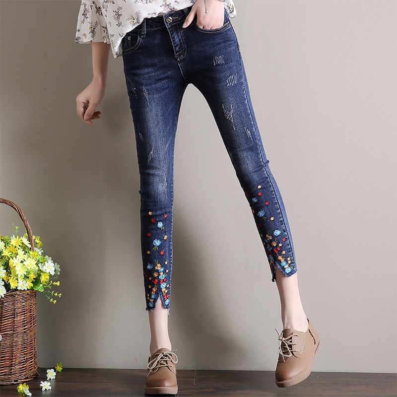 2a14da9381aa7 New Spring Demin Pants Summer Rhinestone Beading Ankle Length Jeans Female  Oversized Stretch Pencil Pants Slim