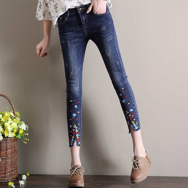 New Spring Demin Pants Summer Rhinestone Beading Ankle Length Jeans Female Oversized Stretch Pencil Pants Slim Trousers Plussize