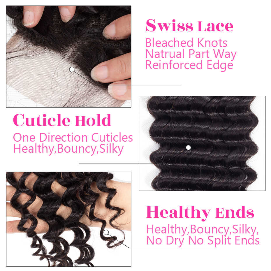5 пучков/партия 5x5 жариновые волосы бразильские закрытие глубокая волна человеческих волос Кружева Закрытие бесплатно/средний/три части Remy волос натуральный цвет