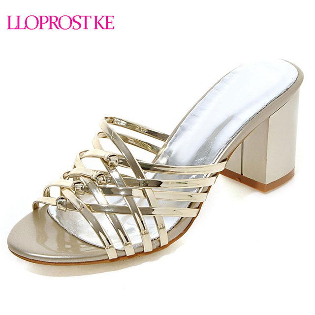 38fafdf38a2a Lloprost ke woman sandals summer high heel pink gold silver shoes sexy  thick heels slip on lady party shoes big size 32-43 MY560