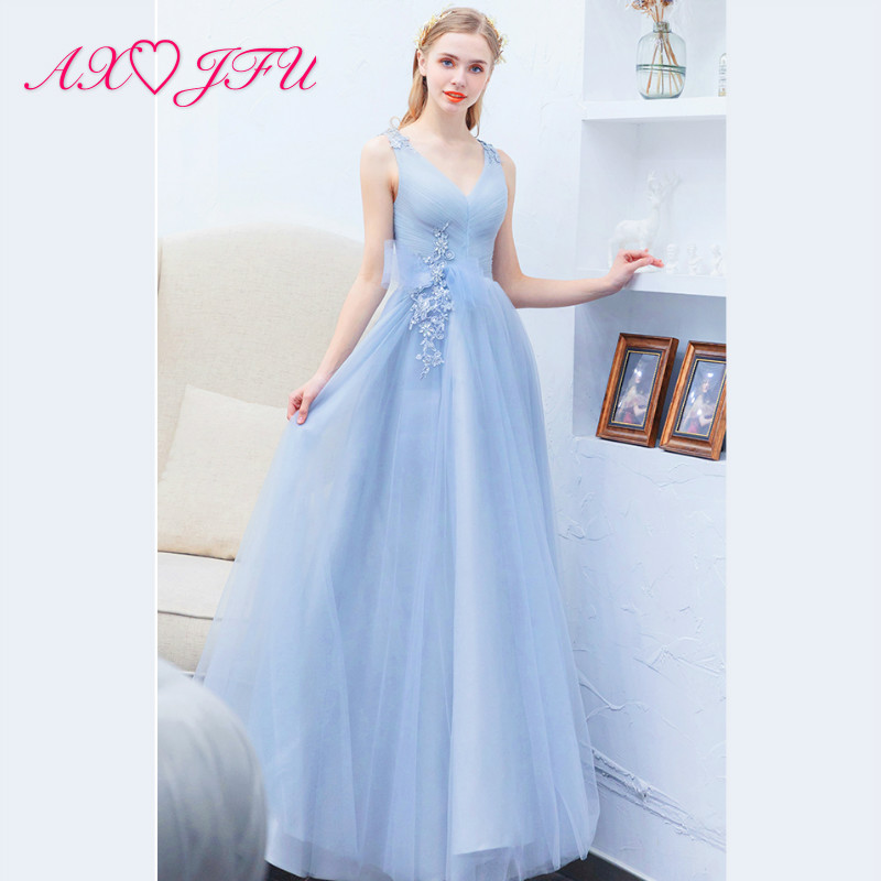 AXJFU Luxury grey blue lace flower   evening     dress   princess v neck big bow party host sleeveless long   evening     dress   1728