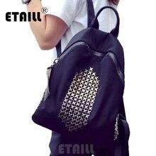 2016 vintage опрятный женщин Водонепроницаемый Оксфорд рюкзаки мужская дорожная сумка Школа Черный с заклепками рюкзак женские спортивные сумки