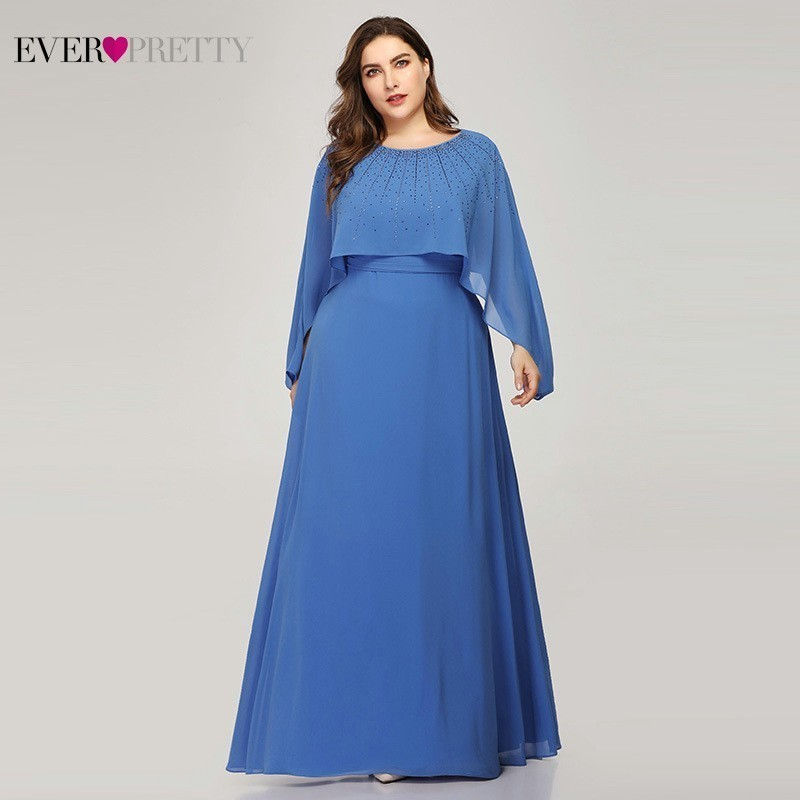 Plus Size Blue   Evening     Dresses   Ever Pretty EZ07947BL A-Line O-Neck Bat-wing Sleeve Elegant Formal Party   Dresses   Robe De Soiree
