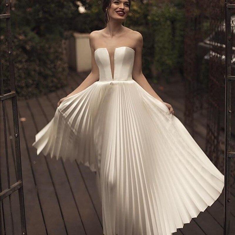 2019 New Vestido De Noiva Backless Wedding Dress Strapless Off Shoulder Wedding Gown Long Pleats Bride