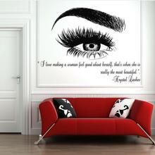 Eyelashes Lashes Eyebrows Brows Beauty Salon Decor Wall Decal Sticker Eye Quote Make Up fashion decals Removable J943
