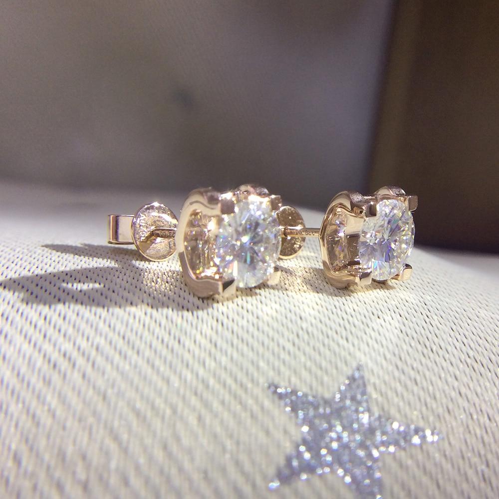 Genuino 14 K 585 Oro Giallo Vite Torna DF Colore 2ctw Test Positivo Taglio Rotondo Moissanite Orecchini di Diamanti Per Le Donne-in Orecchini da Gioielli e accessori su  Gruppo 2