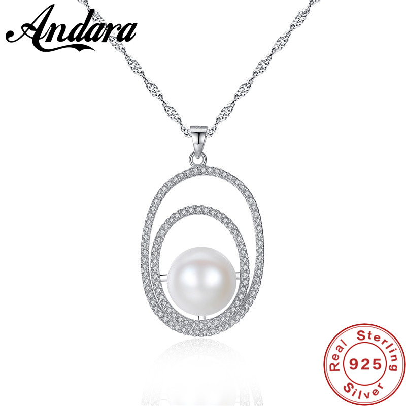2018 New Fashion Jewelry Water Wave Chain Necklace Women 925 Sterling Silver Pearl Pendant Necklace <font><b>Crystal</b></font> Jewelry image