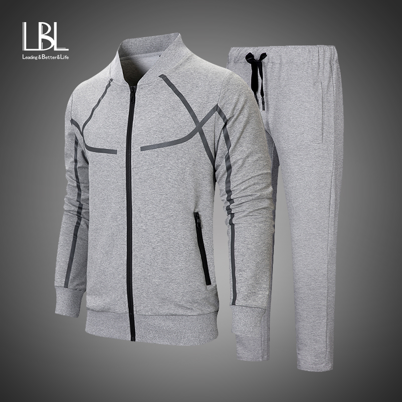 2018 Men's Sportwear Suit Sweatshirt Tracksuit Without Hoodie Men Casual Active Suit Zipper Outwear 2 Pieces Jacket+Pants Sets