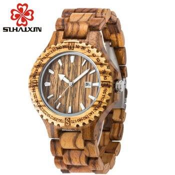 SIHAIXIN homme bois montre hommes Date de luxe marque Sport mâle pleine Nature bambou bois bande mâle horloge minimaliste homme montres cadeau