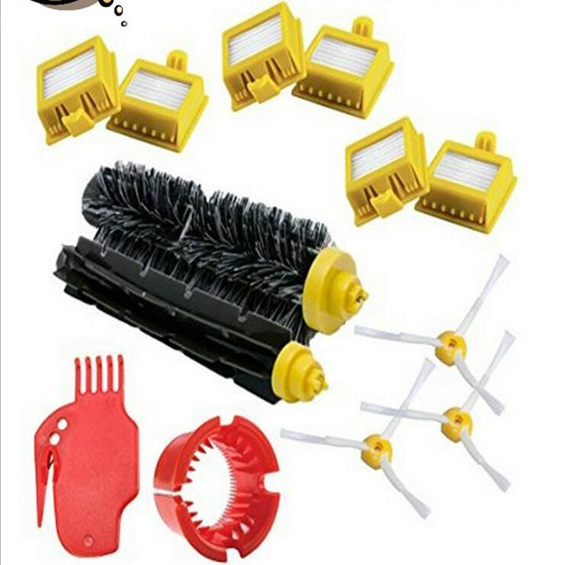 13pc/lot 700/760/770/780/790 Robot Vacuum Cleaner Accessories Set 1 Set Brush +6 Hepa Filter +3 Side Brush +1 Set Cleaning Part 2 brush 3 side brush 3 hepa filter 1 cleaning cylinder robot vacuum cleaner 610 611 627 620 630 650 replacement parts