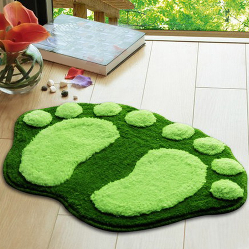 5 colors Cute Footprints Big Feet Bath Mats Pads Cartoon Style Toilet Non slip Rug for Bathroom carpet floor in Mat from Home Garden