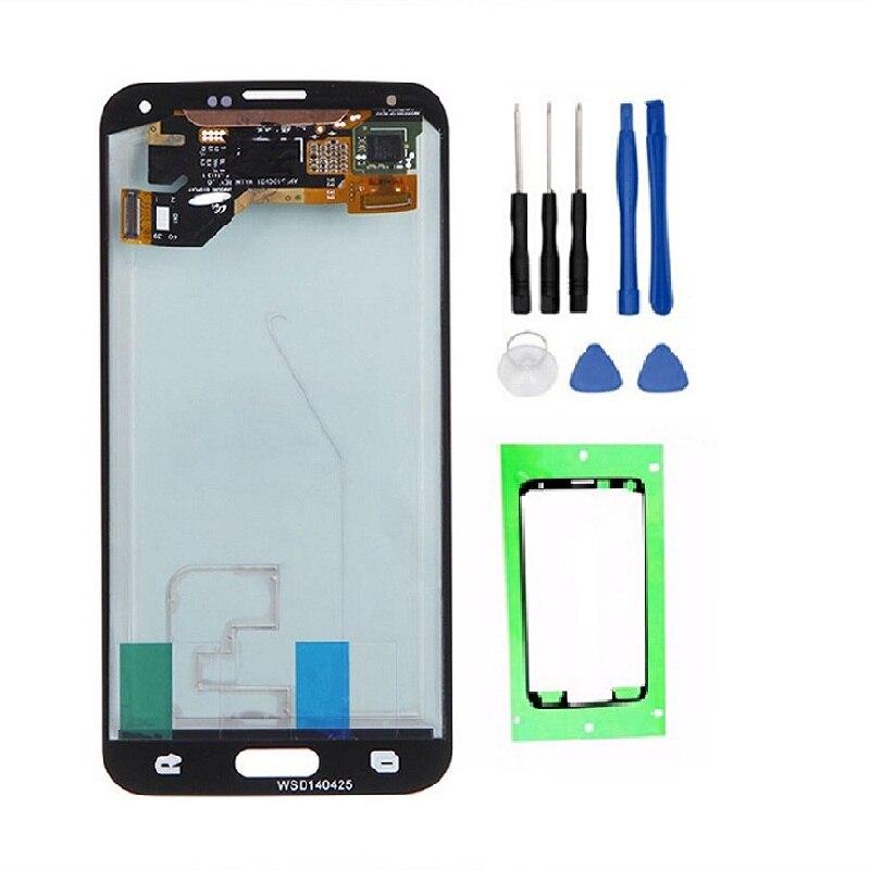 100% AMOLED pantalla LCD para Samsung Galaxy S5 g900 g900f alta calidad pantalla táctil digitizador Asamblea + Herramientas + Cintas