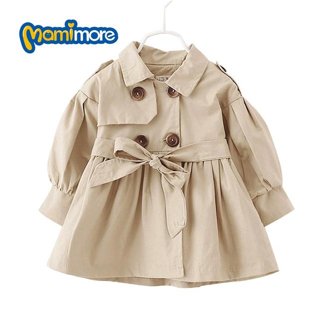 Mamimore Sólido Muchachas Del Estilo Británico Trench Coat Jacket Ropa Cazadora anti-arrugas Bebé Niñas Abrigo Prendas de Vestir Exteriores