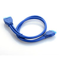 8.28 SALE! 0.5M 2″ USB 3.0 Motherboard 20 pin male plug to 20pin female extension cable Computer Cables & Connectors