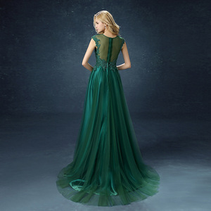 Image 3 - QQC292#Green long  bridesmaid dresses with short trailing tails wedding party dress 2019 gown prom Programme sponsor fashion