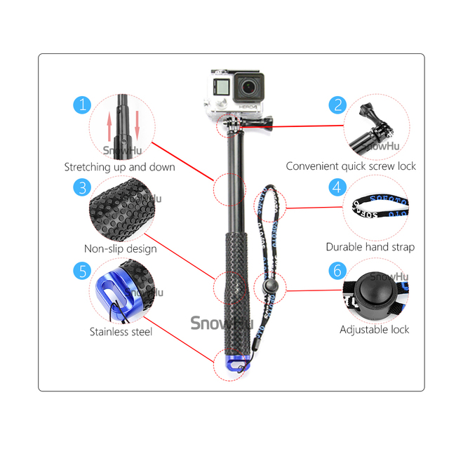 SnowHu for GoPro 7 6 5 Aluminum Extendable Pole Selfie Stick Monopod Tripod Mount for GoPro Hero 7 6 5 4 for Xiaomi for Yi GP180