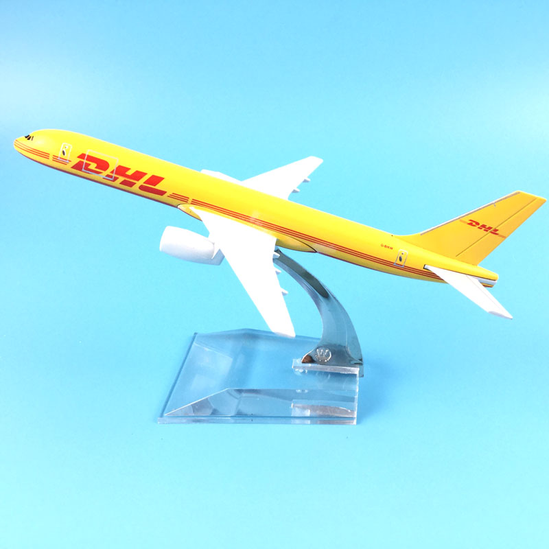 FREE SHIPPING 16CM 757 DHL METAL ALLOY MODEL PLANE AIRCRAFT MODEL TOY AIRPLANE BIRTHDAY GIFT image