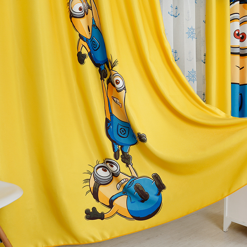 3d Cartoon Minions Blackout Thickened Curtain Custom Yellow People Children's Curtain for Princess Room Window Living Room