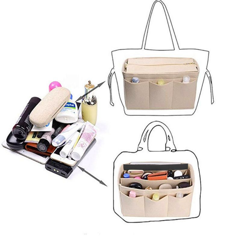 2019 Fashion New Women Multifunction Cosmetic Makeup Bag Organizer Felt Fabric Bag Purse Insert Storage Pouch Case Handbag S/M/L