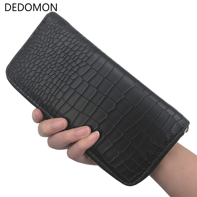 New 2019 Women Purses Vintage Alligator Wallet Zipper Clutch Bag Fashion Designer Female Leather Wallets Famous Brand Purse