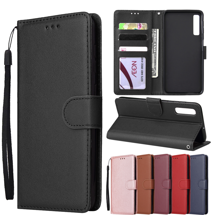 A7 2018 case For Samsung Galaxy A7 2018 A750 cover Solid color Wallet Flip Leather case For Samsung A9 2018 With Photo Frame