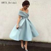 Cheap Tea Length Bridesmaid Dresses Off Shoulder Plus Size A Line Satin Wedding Guest Dress 2018 Short Maid Of Honor Gowns