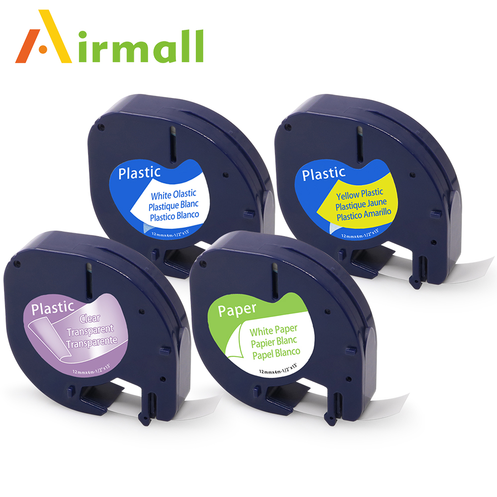 Color printing label maker - Airmall 4 Pcs Compatible Dymo Letratag Tape Label Maker Dymo 91201 12267 91200 91202 Mixed Color Dymo Label Printer Ribbon 12mm