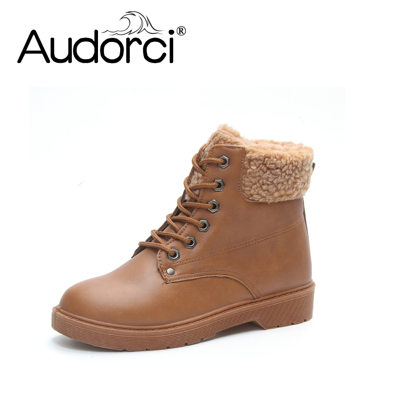Audorci 2018 Fashion Women Boots Solid Lace Up Martin Boots Ankle  Boots Brand Winter Woman Shoes Plush With Fur 3color Basic