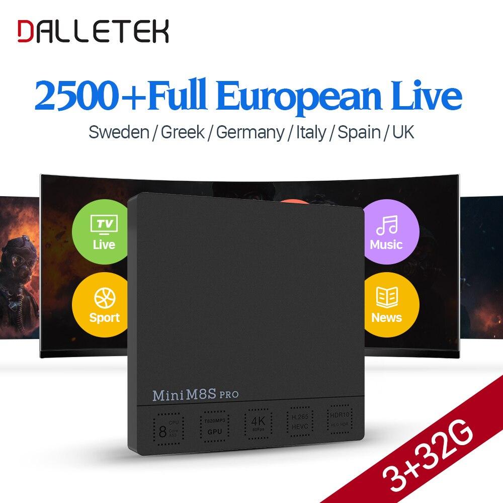 Best Italia IPTV Box Dalletektv M8S Pro TV Box Android 7.1 3G/32G S912 2500 + IUDTV IPTV Europe Swedish Italia Arabic IPTV Box iptv evpad pro