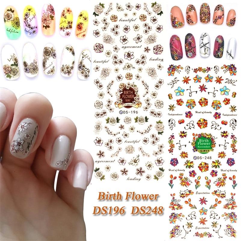 7f57cc469f73f Ds196 ds248 DIY nail design transferencia de agua Clavos arte nacimiento  flores nail wraps sticker Watermark dedo Clavos calcomanías
