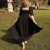 2019 New Women French style 3D dot Spliced Ruffle Square Collar Maxi Long Swing Dress Black Backless Half Sleeve Dresses Vestido