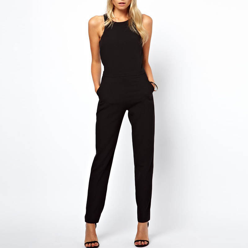 Summer Women Sleeveless Jumpsuit Casual Solid Bodysuit Crew Neck Long Playsuits Jumpsuits H9 ...