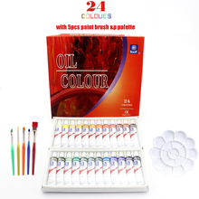Professionelle Marke Rohr Ölfarben kunst für künstler Leinwand Pigment Malutensilien Zeichnung 12 ML 24 Farben pinsel & palette Set
