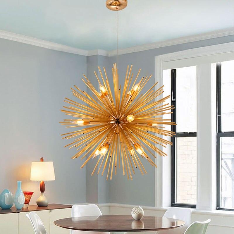 fashion Pendant Lights Antique Living Room Handing Lamps Gold Artistic LED lighting Industrial Luminaria Modern Home Decoration