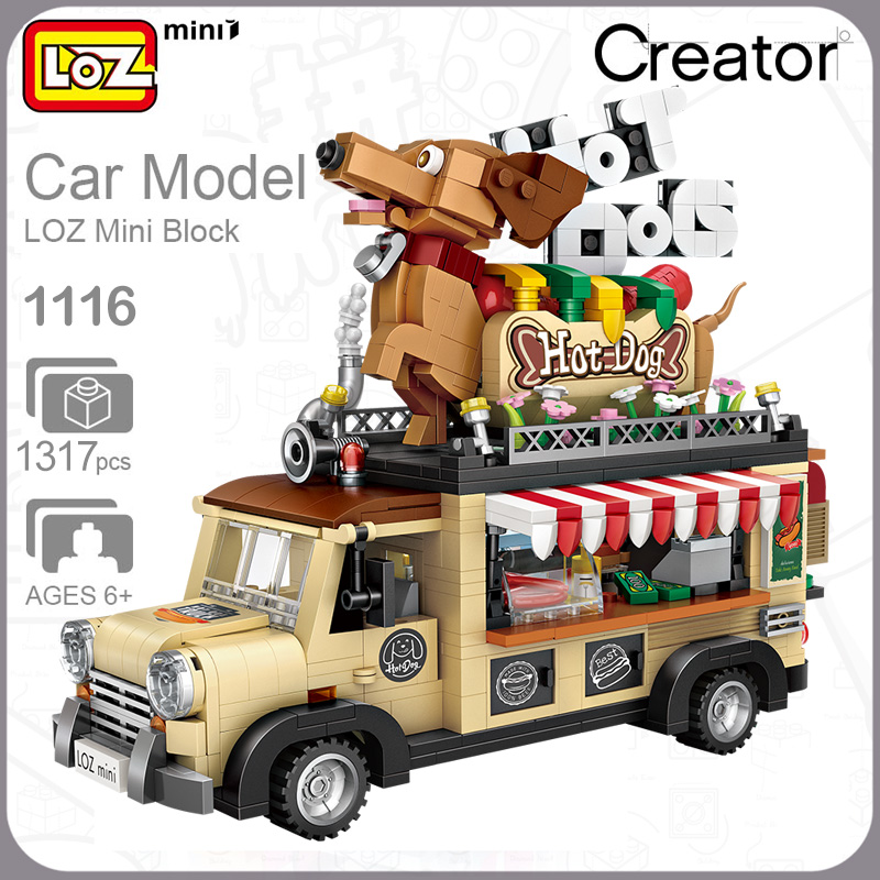 LOZ 1116 Hot Dog Fast Food Car Model DIY Mini Blocks Diamond Nano Building Toy
