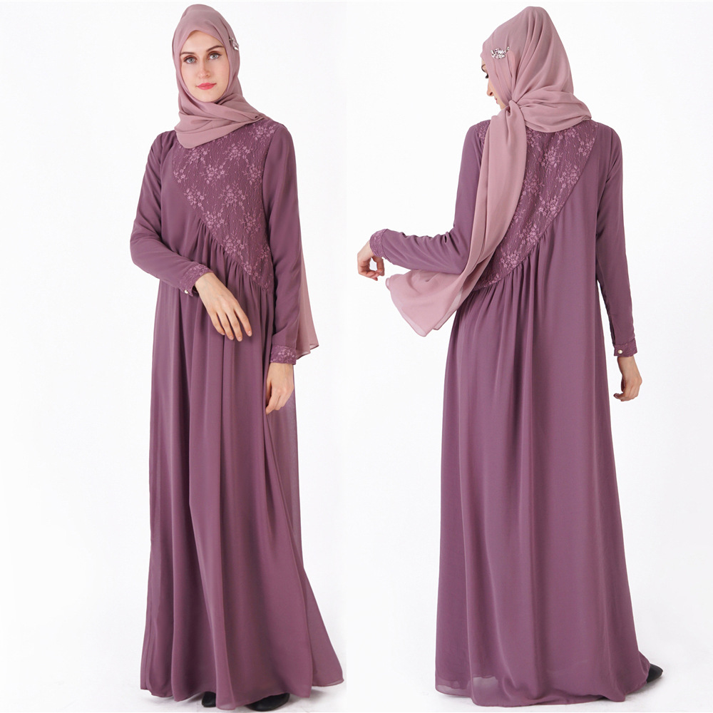 2019 new color double layer chiffon full sleeve Muslim women dress jubah