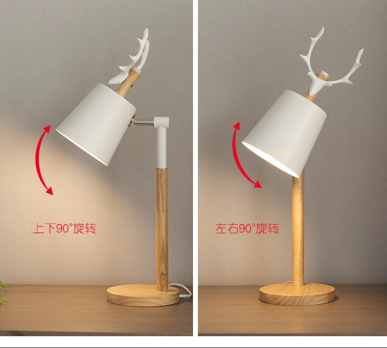 Student black Deer wood Table desk Lamp study Led Wood floor Table Light American Christmas buckhorn Reading Desk Light lamparas