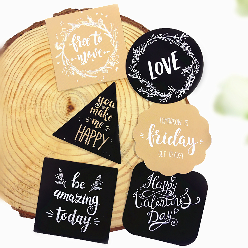 45pcs/box/lot Kawaii English Blessing Series Adhesive Seal Sticker Set Stickers For Diary DIY Baking Packaging Decoration Label