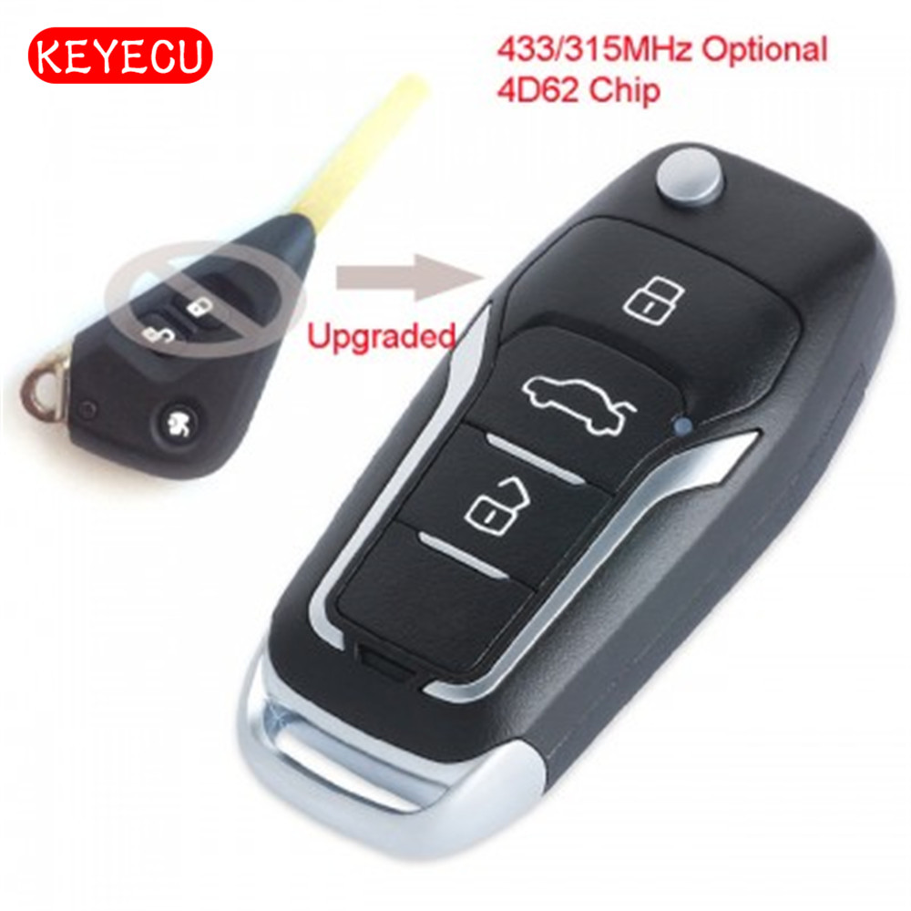 Keyecu Upgraded Flip Remote Car Key Fob 315/433MHz 4D62 Chip 3 Button for Subaru Outback Liberty Impreza WRX Forester 2003-2009