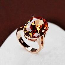 Brillante increíble grande de champán cz anillo de diamante grande ovalada solo orange crystal corte de lujo anillo de oro joyería de las mujeres