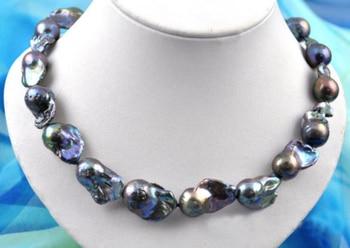 Rare 18inch 27mm baroque black keshi reborn pearl necklace