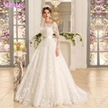 Modern Ivory Lace Princess Wedding Dresses Long Sleeves With Jacket Ball Gowns Bridal Gown Tulle Zipper Buttons Sweep Train