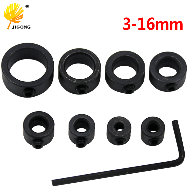 3-16mm Drill Bit Depth Stop Collar Ring Positioner Spacing Ring Woodworking Drill Bit Hole Drill Press Collars + Hex Wrench