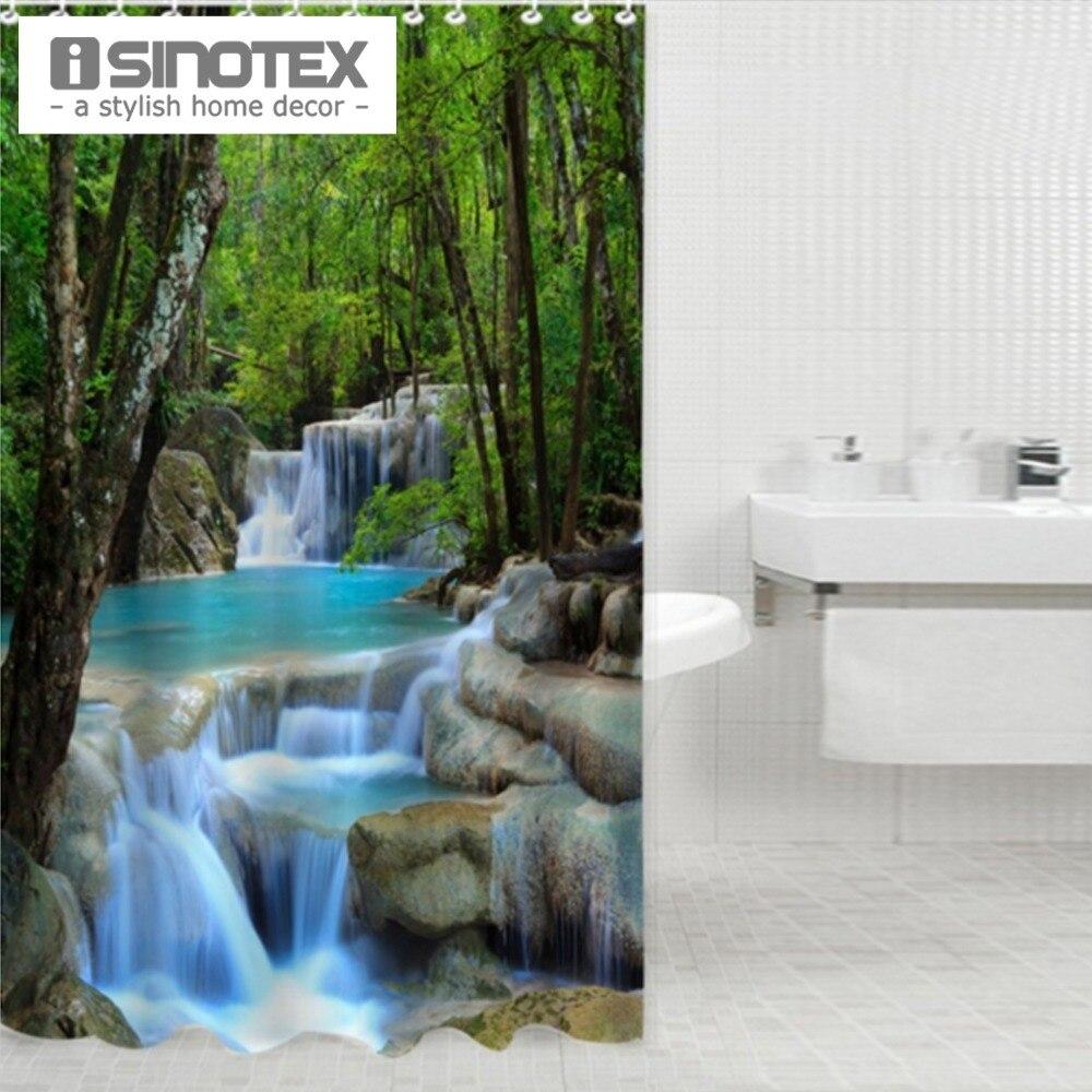 180X180 CM Paisaje Cascada Productos Creativos de Poliéster Impermeable Baño Cor